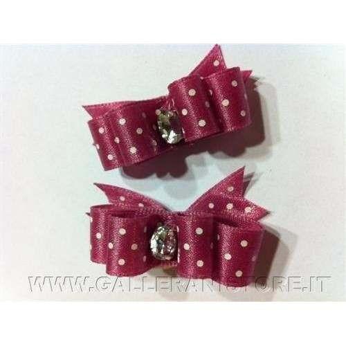 Fiocchetti per cani - Viola con pois bianchi e pietra c/elastico