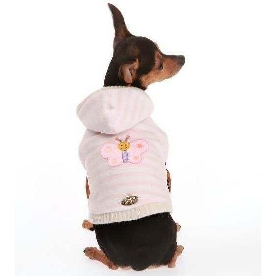 Felpa rigata ciniglia/ecopelliccia Rosa per cani - Trilly tutti Brilli