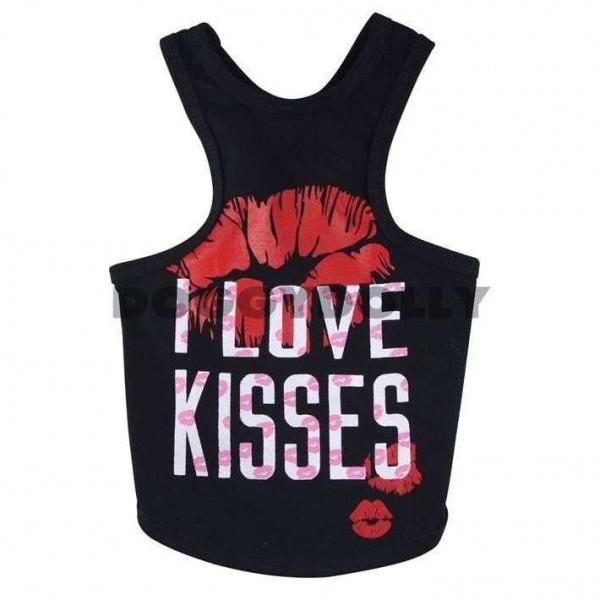 Canotta Love Kiss Black per Carlino e Bulldog Francese SM