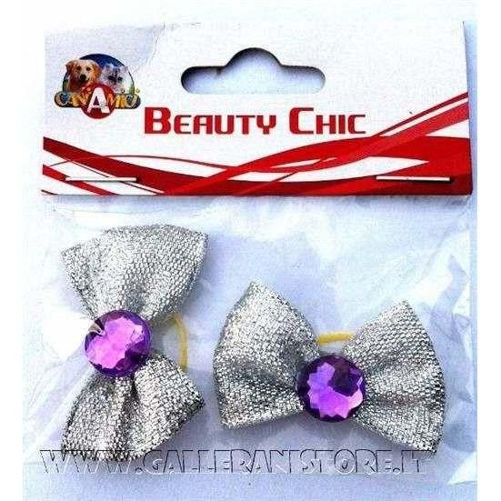 Fiocchetti argentati con pietra viola c/elastici per cani