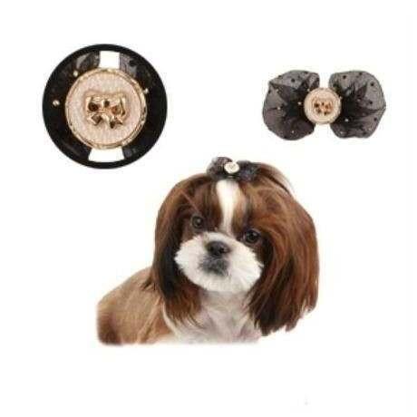 Fiocchetto con fermaglio Isabella nero per cani - Pinkaholic New York