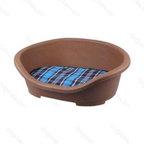 Cuccia in plastica marrone con cuscino cm 47,5x34xh18