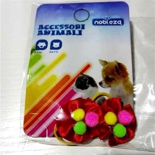 Fiocchetti c/elastico per cani rosso con palline colorate - Nobleza
