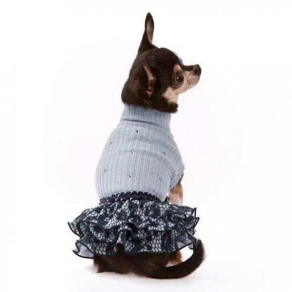 Abito azzurro lana/balze applicazione Swarovski per cani - Trilly tutti Brilli
