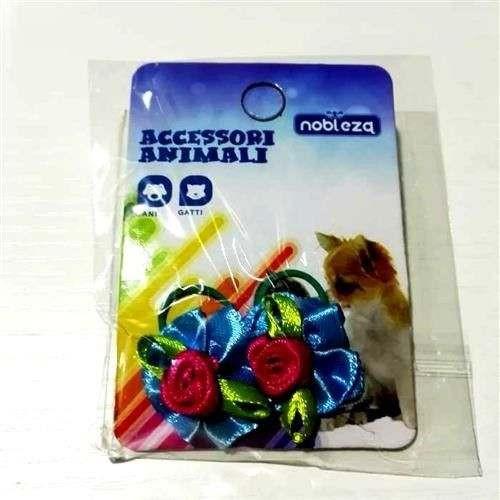 Fiocchetti c/elastico per cani azzurro con rosa fucsia - Nobleza