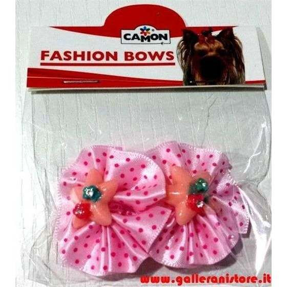 Fiocchetti grandi c/Elastico rosa e pois per acconciature cani o gatti - CAMON