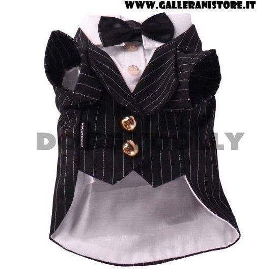 Smoking Gessato per cani Black Stripe Tuxedo - Taglia XXL