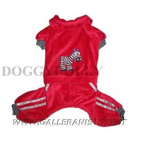 Pigiama tutina in ciniglia rosso per cani Doggy Dolly unisex- Taglia L
