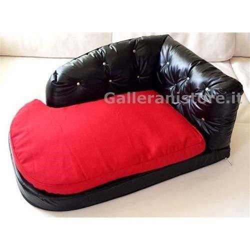 Sofa Divano sfoderabile ecopelle nera e tessuto rosso per cani