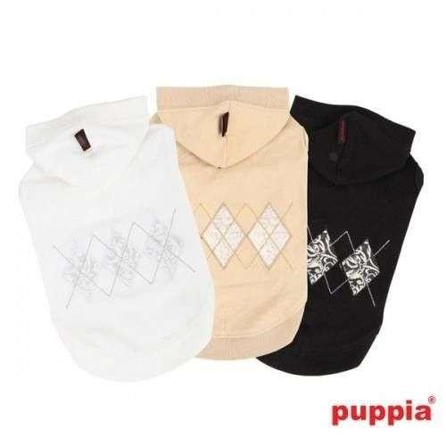 Maglietta con cappuccio Diamond Back cotone naturale per cani - Puppia
