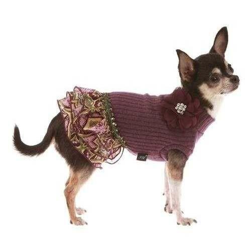 Vestitino lana/balze Vinaccia con applicazione fiore per cani - Trilly tutti Brilli