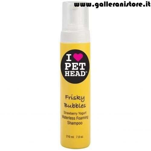 Shampoo schiuma a secco per gatti FRISKY BUBBLES Yogurt alla Fragola - I LOVE PET HEAD