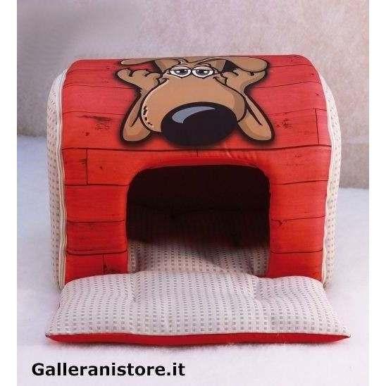 Tunnel casetta Rosso design fumetto per cani - Nasonero