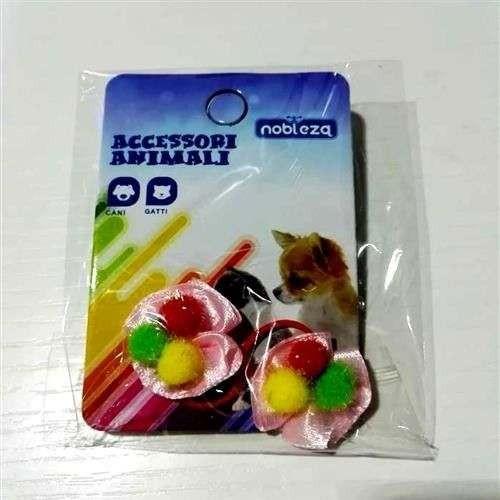 Fiocchetti c/elastico per cani rosa con palline colorate - Nobleza