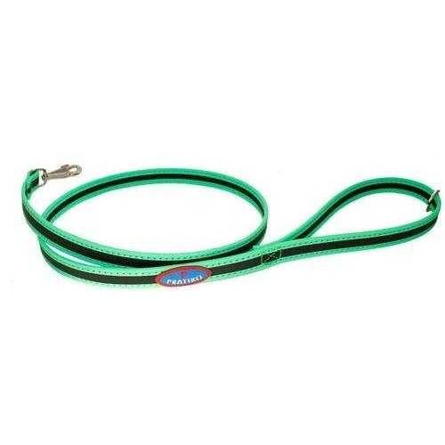 Guinzaglio Nero/Verde FLUO con fettuccia - Pratiko