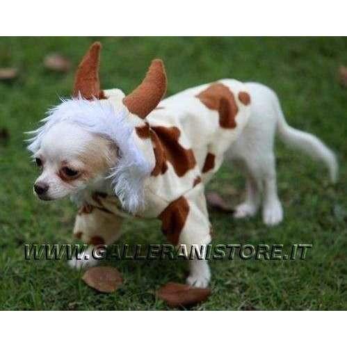 Costume carnevale da Mucca Bianco/Marrone per cani Doggy Dolly - Taglia M