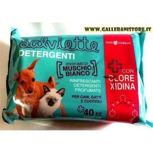 Maxi Salviette CLOREXIDINA e Muschio Bianco 40 pz per cani