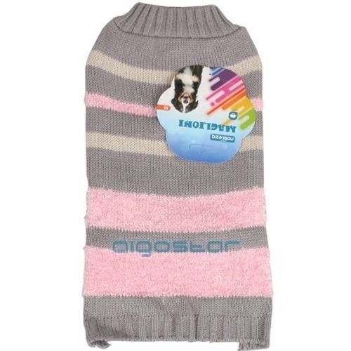 Maglione Stripe sweater grigio-rosa per cani - Nobleza