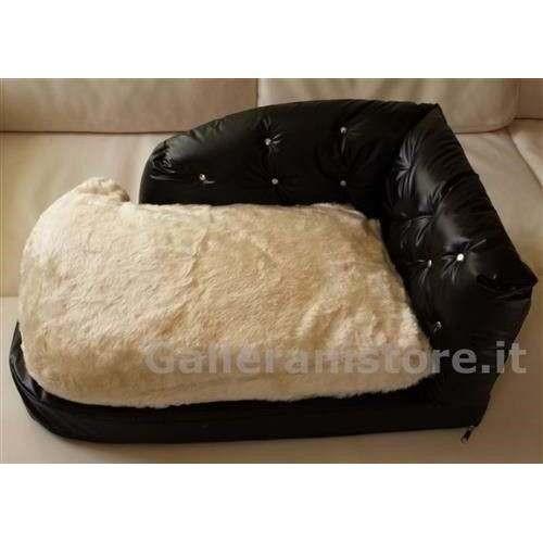 Sofa Divano sfoderabile ecopelle nera e ecopelo bianco per cani