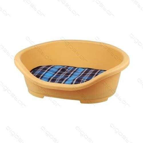 Cuccia in plastica gialla con cuscino cm 47,5x34xh18