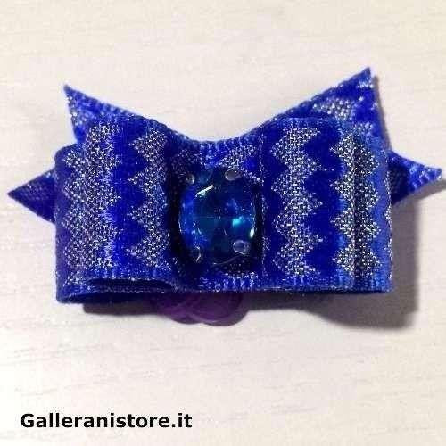 Fiocchetto per cani - Blu argento e pietra Azzurra c/elastico