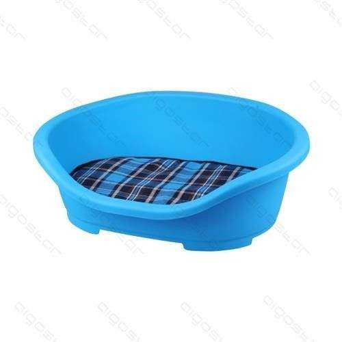 Cuccia in plastica blu con cuscino cm 47,5x34xh18