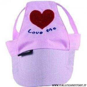 Cappellino Rosa Love Me per cani con visiera - Misura XS
