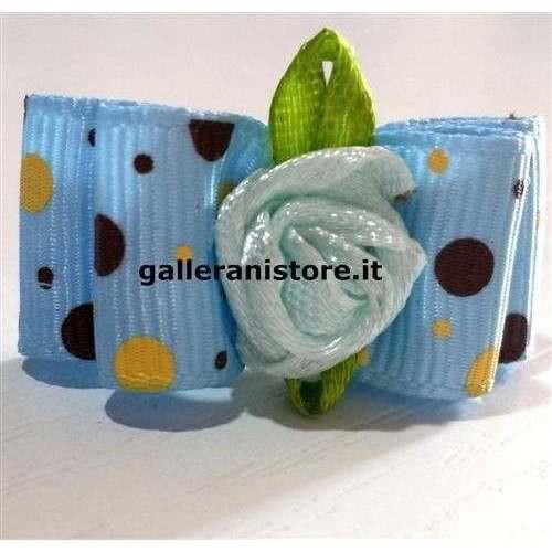 Fiocchetto con elastico fiore azzurro per cani Fuss-Dog