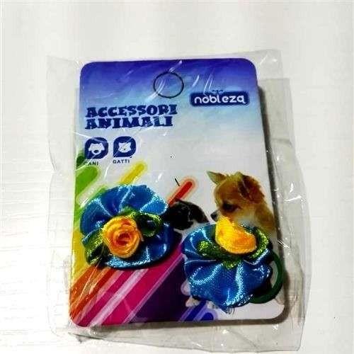 Fiocchetti c/elastico per cani azzurro con rosa gialla - Nobleza