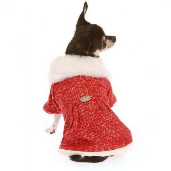 Cappotto Lame/Ecopelliccia Rosso per cani - Trilly tutti Brilli