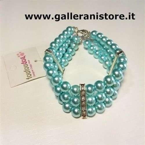 Collana Bijoux perle Blue tre file per cani - FouFouDog