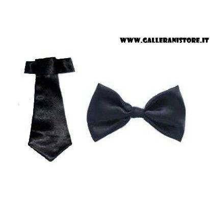 Papillon e Cravatta neri per cani Tie Set - Misura L