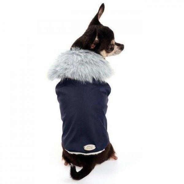 Cappotto Tessuto Tecnico e Ecopelliccia Blu per cani - Trilly tutti Brilli
