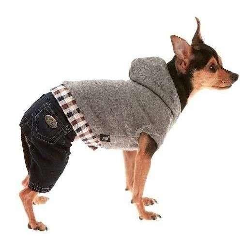 Tutina felpa e pantalone jeans per cani - Trilly tutti Brilli