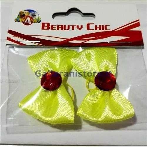 Fiocchetti giallo con pietra rossa c/elastici per cani