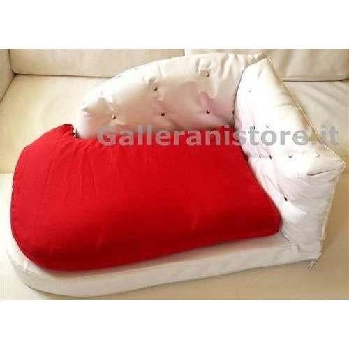 Sofa Divano sfoderabile ecopelle bianca e tessuto rosso per cani