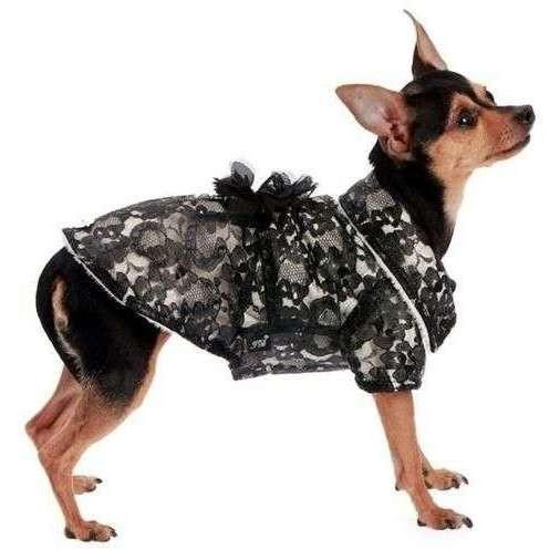 Cappotto Macrame Ecopelliccia Nero per cani XS - Trilly tutti Brilli