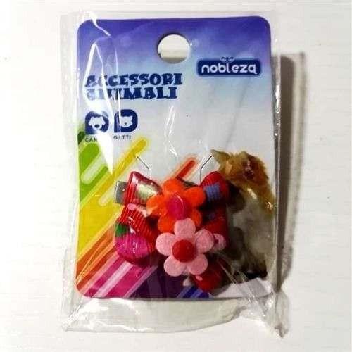 Fiocchetti rosso fragole c/molletta per cani mod2 - Nobleza