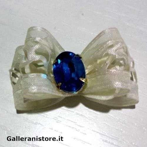 Fiocchetto per cani - Bianco e pietra Blu c/elastici