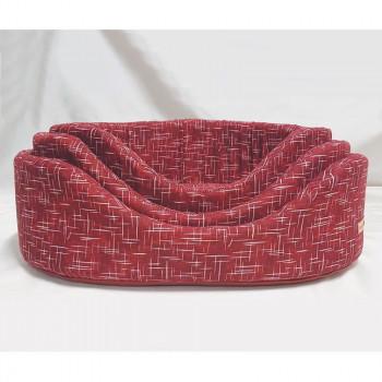 Cesta per cani ovale Linea Eco, colore rosso - Nasonero