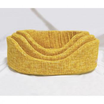Cesta per cani ovale Linea Eco, colore giallo - Nasonero
