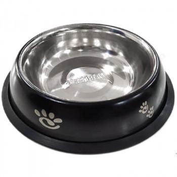 Ciotola per cani London in acciaio nera - Nobleza