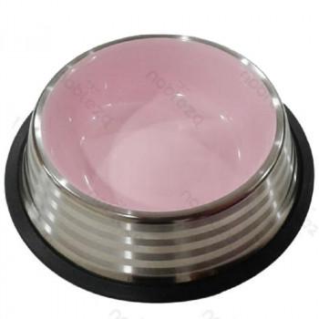 Ciotola per cani Pumba in acciaio, color rosa - Nobleza