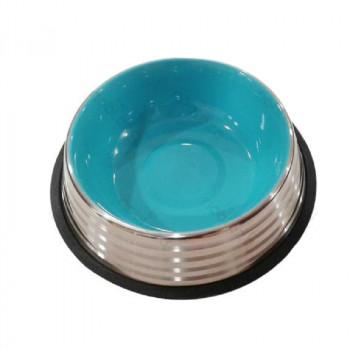 Ciotola per cani Pumba in acciaio, color azzurro - Nobleza