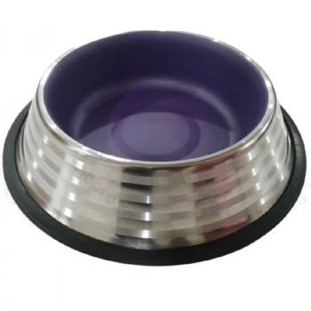 Ciotola per cani Pumba in acciaio, color lampone - Nobleza