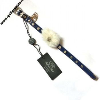 Collare NATALE Mod 1 ecopelle blu c/Swarovsky- Trilly tutti Brilli