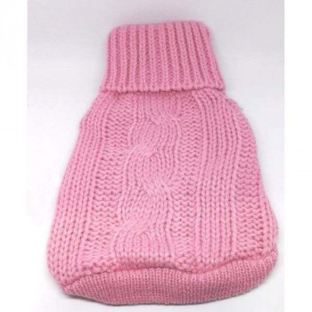 Dolcevita con trecce rosa maglione per cani