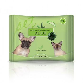 Salviette Aloe per cani gatti e cuccioli Natural Derma Pet 40 pz