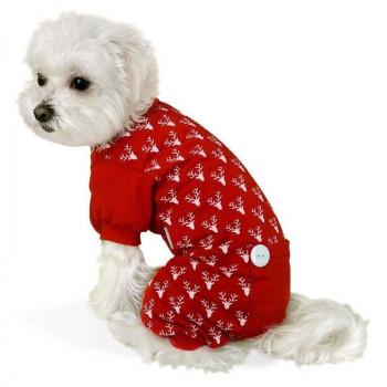 Pigiama Reindeer rosso natalizio per cani