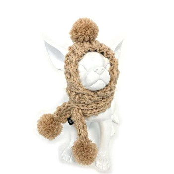 Roger beige cuffia e sciarpa di lana ai ferri - Collezione Trilly tutti Brilli